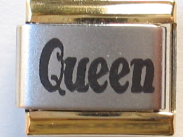Qeen Laser Italian charm    gold trim