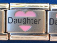 Daughter Pink heart Laser Italian charm