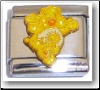 Cute Bear, yellow glitter Italian Charm