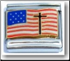US Flag with Cross  Italian Charm
