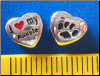 Bead   I love my Aussie Dog w/paw    Sterling Silver