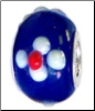 Gorgeous White Flower on Blue Glass Bead