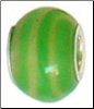 Green & Ecru Strip Glass Bead