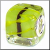 Lime Green & Black Stripe Glass Cube Bead