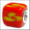 Asian Floral Glass Cube Bead