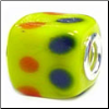 Hippy Lime Green Glass Cube Bead