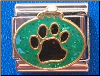Green ornament w/black dog paw