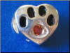 Bead   Sterling Dog paw January Birthstone