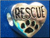 Bead   Rescue w/paw in Heart   Black